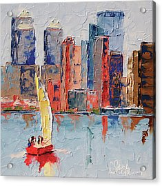 New York Harbor Acrylic Print by Leslie Saeta