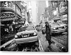 New York In Blizzard Acrylic Print