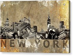 New York City Grunge Acrylic Print by Suzanne Powers