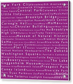 New York In Words Pink Acrylic Print