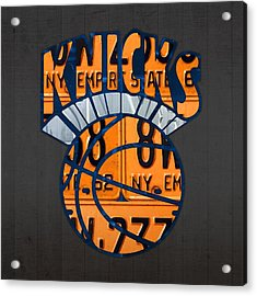 New York Knicks Basketball Team Retro Logo Vintage Recycled New York License Plate Art Acrylic Print by Design Turnpike