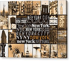 New York Life In Sepia Acrylic Print by Marilu Windvand