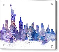 New York Acrylic Print by Watercolor Girl