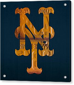 New York Mets Baseball Vintage Logo License Plate Art Acrylic Print
