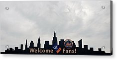 New York Mets Skyline Acrylic Print by Rob Hans