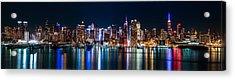 New York Panorama By Night Acrylic Print by Mihai Andritoiu