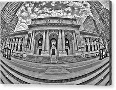 New York Public Library - Nypl Bw Acrylic Print by Susan Candelario