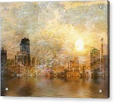 New York River Sunrise Acrylic Print