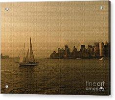 New York Sailing At Sunset Acrylic Print