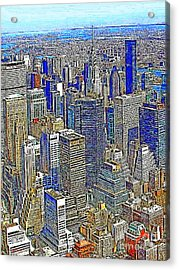 New York Skyline 20130430v2 Acrylic Print by Wingsdomain Art and Photography