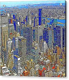 New York Skyline 20130430v4-square Acrylic Print by Wingsdomain Art and Photography
