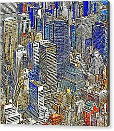 New York Skyline 20130430v5-square Acrylic Print by Wingsdomain Art and Photography