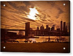 New York Skyline And Brooklyn Bridge -- Late Afternoon Acrylic Print