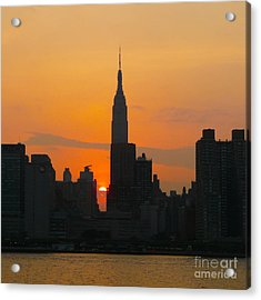 New York Skyline At Sunset Acrylic Print by Avis  Noelle
