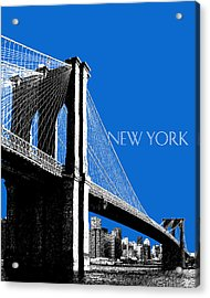 New York Skyline Brooklyn Bridge - Blue Acrylic Print