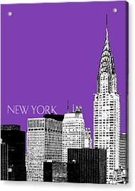 New York Skyline Chrysler Building - Purple Acrylic Print by DB Artist