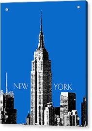 New York Skyline Empire State Building - Blue Acrylic Print by DB Artist