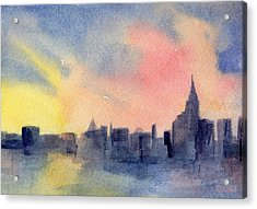 New York Skyline Empire State Building Pink And Yellow Watercolor Painting Of Nyc Acrylic Print by Beverly Brown Prints