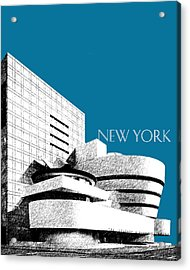 New York Skyline Guggenheim Art Museum - Steel Blue Acrylic Print