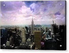 Acrylic Print featuring the photograph New York City Skyline - Infrared - Color by Dave Beckerman