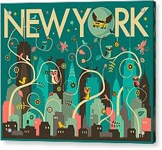 New York Skyline Acrylic Print by Jazzberry Blue