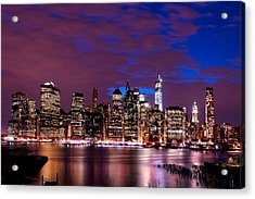 New York Skyline Magic Hour-- From Brooklyn Heights Promenade Acrylic Print