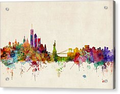 New York Skyline Acrylic Print by Michael Tompsett