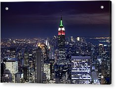 New York Skyline Night Color Acrylic Print