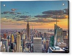 New York Skyline Sunset Acrylic Print by Basic Elements Photography