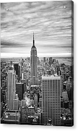 Acrylic Print featuring the photograph Black And White Photo Of New York Skyline by Dave Beckerman