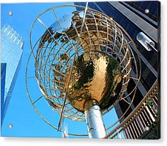 New York Steel Globe Acrylic Print by Jenny Hudson