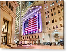 New York Stock Exchange At Night Acrylic Print
