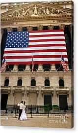 New York Stock Exchange Bride And Groom Dancing Acrylic Print by Amy Cicconi
