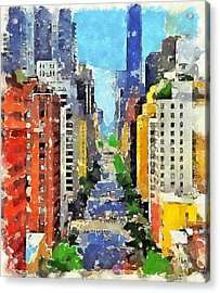 New York Street View Acrylic Print by Yury Malkov