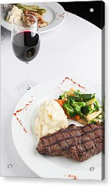 New York Strip Steak With Mashed Potatoes And Mixed Vegetables Acrylic Print by Erin Cadigan