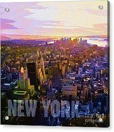 New York Sunset Acrylic Print by Lutz Baar