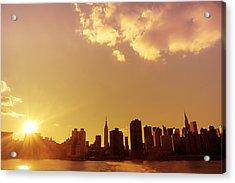 New York Sunset Skyline Acrylic Print by Vivienne Gucwa