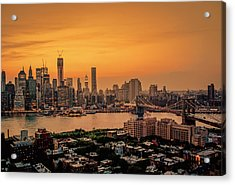 New York Sunset - Skylines Of Manhattan And Brooklyn Acrylic Print by Vivienne Gucwa