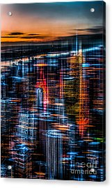 New York- The Night Awakes - Orange Acrylic Print