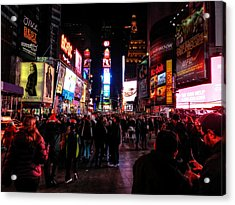 New York - Times Square 001 Acrylic Print by Lance Vaughn
