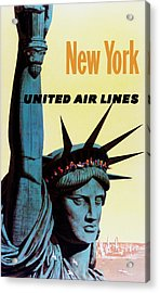 New York United Airlines Acrylic Print by Mark Rogan