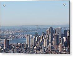 Acrylic Print featuring the photograph New York View And Verrazano-narrows Bridge by David Grant