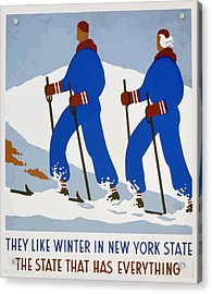 Acrylic Print featuring the painting New York Vintage Skiing by American Classic Art