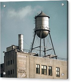 Acrylic Print featuring the photograph New York Water Towers 10 by Gary Heller