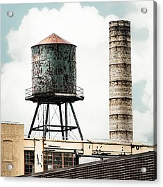 Water Tower And Smokestack In Brooklyn New York - New York Water Tower 12 Acrylic Print by Gary Heller