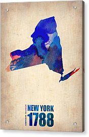 New York Watercolor Map Acrylic Print by Naxart Studio