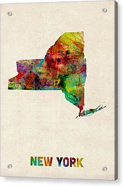 New York Watercolor Map Acrylic Print