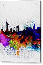 New York  Watercolor Skyline 1 Acrylic Print by Naxart Studio