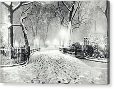 New York Winter Landscape - Madison Square Park Snow Acrylic Print by Vivienne Gucwa