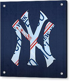 New York Yankees Baseball Team Vintage Logo Recycled Ny License Plate Art Acrylic Print by Design Turnpike